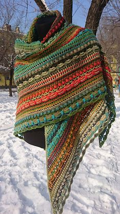 wool shawl Lost in Time big colorful stripes winter shawl Dundaga yarnLost in Time Shawl Excellent wool shawl Exclusive thing, identical repetition is impossible Dundaga yarn - wool - exceptionally warm big size - 225 x 105 sm Poncho Au Crochet, Crochet Shawls And Wraps, Crochet Scarves, Crochet Clothes, Knit Crochet, Vintage Accessories, Winter Accessories, Crochet Projects, Knitting Patterns