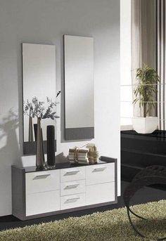 meuble dentre moderne miroirs ludivine coloris blanc et gris cendr