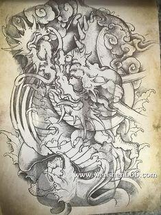 霸气满背黑灰龙纹身手稿