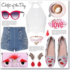 Outfit of the Day by dressedbyrose on Polyvore featuring Mode, Miguelina, Pierre Balmain, Chiara Ferragni, Fendi, Michela Bruni Reichlin, RED Valentino, Italia Independent, Martha Stewart and Petit Bateau