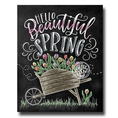♥ Hello Beautiful Spring ♥ ♥ L I S T I N G ♥ Each image is originally hand drawn with chalk and converted digitally. Chalkboard prints maintain the authenticity and dust of the original drawing smudge free. All prints are printed on Deep Matte Fujicolor Crystal Archive Professional