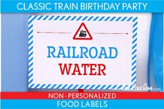Classic Train Birthday Party Food Labels & Bonus by LeeLaaLoo, $5.00