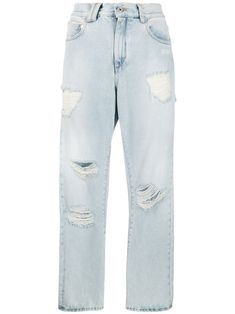 Shop online blue Off-White ripped straight leg jeans as well as new season, new arrivals daily. Blue Denim Jeans, White Jeans, Mom Jeans, Tweed Blazer, Bleached Jeans, Off White Belt, White Outfits, Types Of Fashion Styles, Women Wear