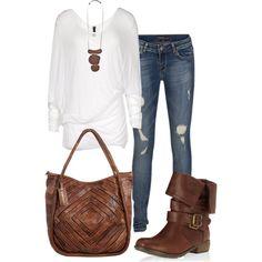 #mediumwash #distressed #skinnyjeans #longsleevetunic #flatbooties #brown #white #fallcasual