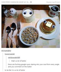 also the milk looks like butter and there is to much silverware