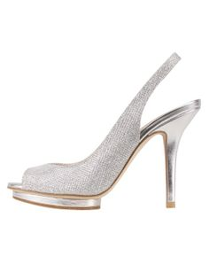 Silver metallic peep toe slingback | Rivka from Pelle Moda by Bellissima Bridal Shoes