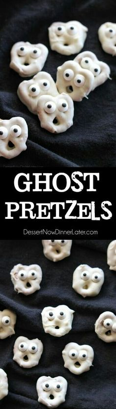 Screaming Ghost Pretzels are fun to make for Halloween! Ghost Pretzels - White chocolate dipped pretzels are made into ghosts with candy eyes and a little bit of imagination. Perfect for a Halloween party! Halloween Desserts, Halloween Party Snacks, Theme Halloween, Hallowen Food, Halloween Goodies, Snacks Für Party, Halloween Birthday, Holidays Halloween, Halloween Kids