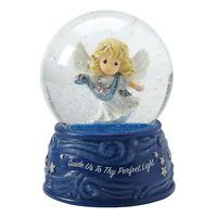 Precious Moments Guide Us To Thy Perfect Light Angel Musical Christmas Snow Globe, Multicolor