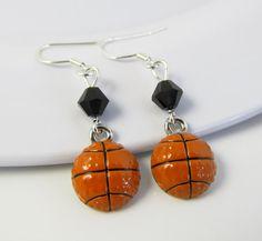 Basketball Earrings Basketball Jewelry Sports by BeadBrilliant, $18.00