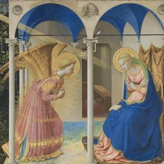 """The Annunciation"" (1425-1428) by Fra Angelico Tempera on Panel 194 x 194 cm Museo del Prado.  This altarpiece was painted for the monastery of Santo Domenico in Fiesole, near Florence. The central panel shows the archangel Gabriel's Annunciation to Mary under a portico. On the left, Adam and Eve are being expelled from Paradise. The damnation and salvation of humanity.  Fra Angelico was particularly meticulous in the details and qualities of nature and of the objects and persons depicted…"