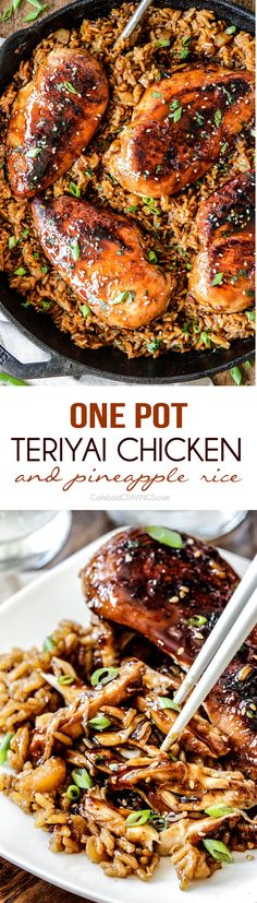 Easy One Pot Teriyaki Chicken with Pineapple Rice dripping with flavor and cooked all in the same skillet! Pineapple Chicken Teriyaki, Teriyaki Chicken With Rice, Teriyaki Chicken With Pineapple, Teriyaki Chicken Casserole, Chicken And Rice Dishes, Teriyaki Chicken Recipes, Pineapple Rice, Yummy Rice Dishes, Chicken And Rice Crockpot