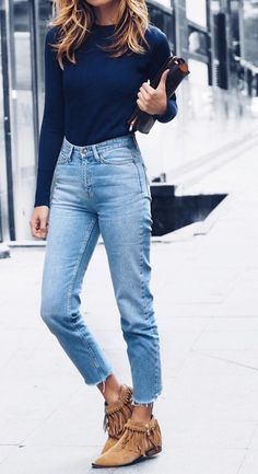 #fall #fashion ·  Blue Sweater + Cropped Jeans + Frindge Ankle Boots