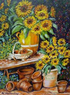 """""""Sunflowers"""" by Nuala Holloway - Oil on Canvas Irish Art, Sunflowers, Still Life, Oil On Canvas, Painting, Ideas, Home, Painting Art, Paintings"""