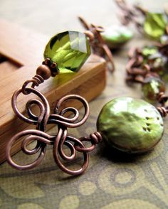 Green Lucky Four Leaf Clover Bracelet-Antiqued Copper