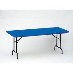 "Correll, Inc. Rectangular Folding Table Size: 24 x 48"", Color: Yellow"