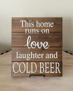 Bar Sign Wood Wall Hanging This Home Runs On Love Laughter And Cold Beer Decor Man Cave Gift