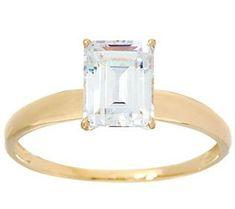 Diamonique 1.00 cttw Solitaire Ring, 14K Yellow Gold