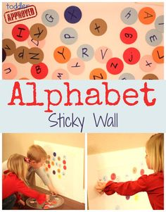 Sticky wall with alphabet letters. What could be more fun for toddlers? From Toddler Approved. Preschool Literacy, Early Literacy, Literacy Activities, Preschool Activities, Teaching Abcs, Preschool Letters, Time Activities, Educational Activities, Learning Letters