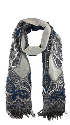 """This handmade, navy and grey, Merino wool Jamawar Scarf / Shawl features stylish kairi motifs and complementing embellishments, giving an urban vibe to your outfit while keeping you warm.  PRODUCT DETAILS - 26"""" x 71"""" - 2.5"""" fringe - Kairi motif detail - Sequin, beading and rhinestone embellishment -100% Merino wool - Dry clean only - Handmade / Handwoven in India"""