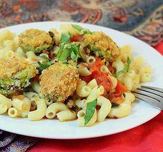 Breaded Brussels Sprouts on pasta with tomato basil sauce. vegan, glutenfree option | Vegan Richa