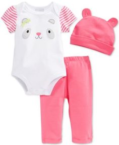 First Impressions Baby Girls' 3-Piece Panda Bodysuit, Pants & Hat Set, Only at Macy's  | macys.com