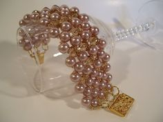 Vintage Champagne Beadwork Bracelet with Swarovski Crystals and Gold Bead Accents
