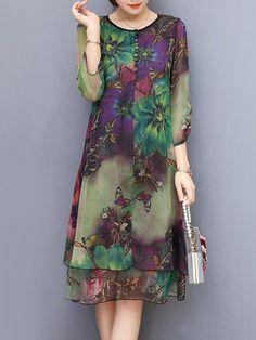 Vintage Floral Printed 3/4 Sleeves Fake Two Pieces Dresses