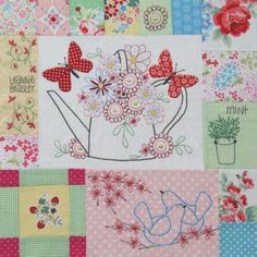 L098 - Down In The Garden - Block 8 - series of photos of embroidered quilt - too cute.