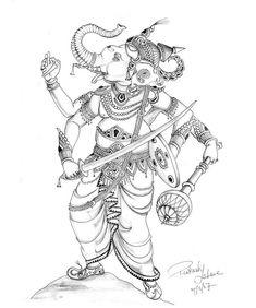 Lord Ganesha Paintings, Ganesha Art, Krishna Art, Sri Ganesh, Abstract Pencil Drawings, Outline Drawings, My Drawings, Drawing Pics, Indian Traditional Paintings
