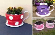 DIY Tire Teacup Planter! What a great way to upcycle old tires! #upcycletires #oldtiresplanter #teacupplanter