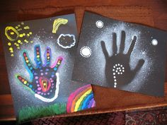 handprint art project with Cyrus.his on the left, mine on the right :)January handprint art project with Cyrus.his on the left, mine on the right :) Aboriginal Art For Kids, Aboriginal Dreamtime, Aboriginal Education, Indigenous Education, Aboriginal Culture, Indigenous Art, Art Education, Naidoc Week Activities, Art Activities
