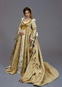 Fantasy renaissance doll gown by Martha Boer, Antique Lilac.