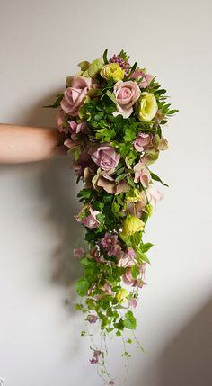 lavender and green cascade bouquet