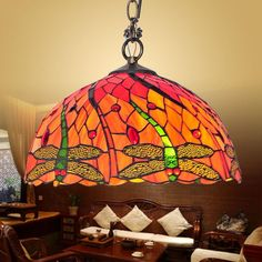 BYB Elegant Tiffany Style Stained Glass Hanging Pendant Ceiling Lamp Chandelier