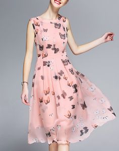 Check the details and price of this Pink Chiffon Sleeveless Butterfly Swing Midi Dress (Floral, GYALWANA) and buy it online. VIPme.com offers high-quality Swing Dresses at affordable price.