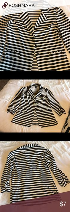 Black and white striped blazer This darling blazer goes with anything! Casual or work! Super cute and great price! Jackets & Coats Blazers
