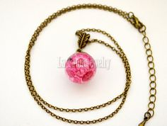 Flower Resin Necklace Real Flower Necklace Hot by LaTaniaJewelry