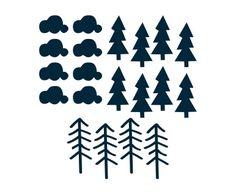 Vinilo adhesivo Trees, azul - 30x42 cm