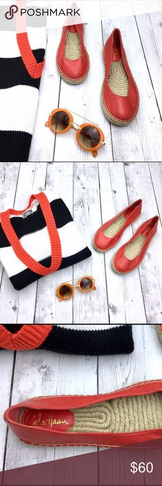 Cole Haan Palermo Orange-red Leather Espadrilles Cute Red-Orange Leather Espadrilles by Cole Haan. These are super comfy. New with out box. They run a bit large. Sweater very soon for sale. Sunglasses not for sale yet. Cole Haan Shoes Espadrilles