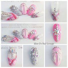 """SWA Swarovski Crystal Collection Gellyfit Nail Art Competition Our Fina … - Diy Nail Designs Swarovski Nails, Crystal Nails, Rhinestone Nails, Bling Nails, Gorgeous Nails, Love Nails, How To Do Nails, Nail Art Diy, Diy Nails"