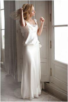 French silk wedding dress by Fabienne Alagama