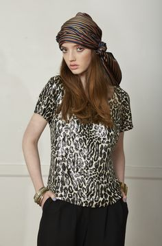 Carlson Flair T Shirt - Leopard Lurex