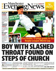 The front page of today's MEN - north edition