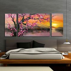 Step by Step acrylic painting on canvas for beginners Three Canvas Painting, Texture Painting On Canvas, Simple Canvas Paintings, Hand Painted Canvas, Multi Canvas Art, 3 Piece Canvas Art, Canvas Wall Art, Sakura Painting, Cherry Blossom Painting