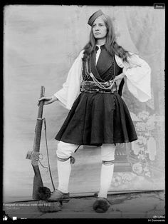 1912 Albanian woman in military clothing.