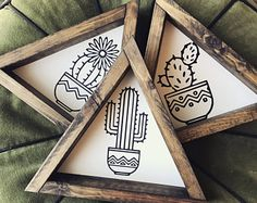 Cactus Trio - Wood Signs set of 3 - wooden triangle frame, stained dark - succulant/cacti print - chalk print - 9 x 9 - sawtooth hanger on the backs Cactus Decor, Cactus Cactus, Cactus Print, Bohemian Decor, Dark Bohemian, Boho Chic, Bohemian Interior, Bohemian Style, Wood Signs