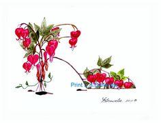 Shoe Print SHIPS FREE  Bleeding Heart Flower by brownleeartstudio, $15.00