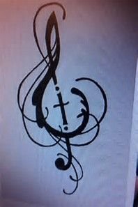 Image result for tattoo designs with treble clef and cross