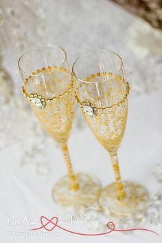 boda boda aniversario tostado gafas, estilo moderno oro de Gatsby, 50 flautas de champán G4/13/7-0001 por DiAmoreDS