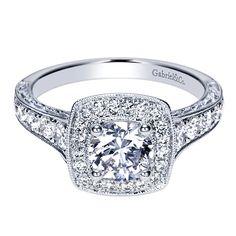 14k White Gold Diamond Halo Engagement Ring